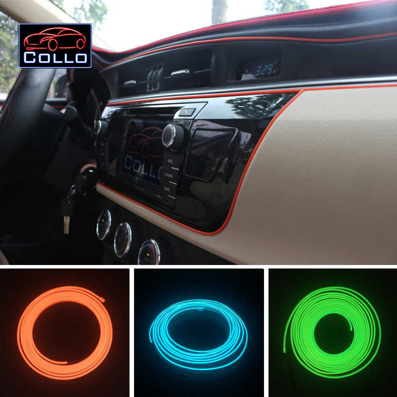 Car-Styling 9 Meter EL Wire For Audi A6 S6 RS6 / 9 Color Car Interior Romantic Atmosphere Lamp / LED Flexible Neon Cold Light