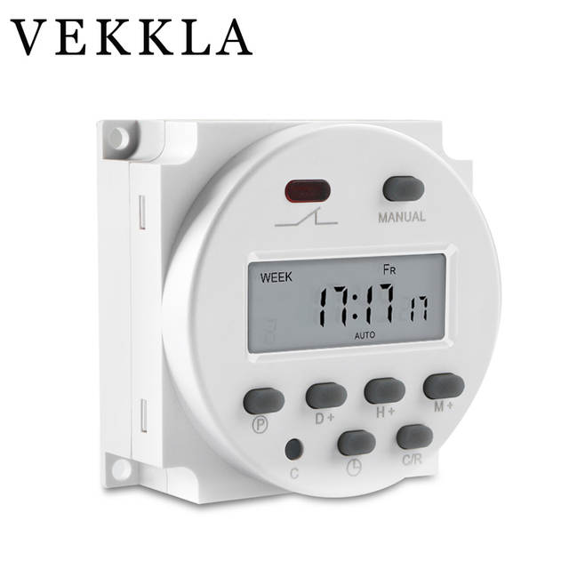US $4 82 29% OFF|DC 12V 16A LCD Electronic Digital Power Programmable Timer  Round Time Relay Switch Support 17 times Daily Weekly CN101A-in Timers