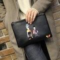 Nueva Moda Para Hombre de Embrague Bolsa de 2017 Hombres de La Cremallera Monederos Impresos Sobre Ocasional bolsa de Gran Capacidad Masculina Cartera Del Mitón Del Teléfono