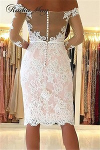 Image 4 - Elegant White Lace Pink Short Cocktail Dresses 3/4 Long Sleeves Knee Length Plus Size Women Semi Formal Dress 2020 Party Gowns