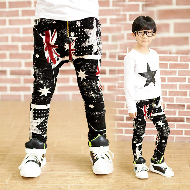 4-11T Fashion Boys Pants Spring Trousers Girls Jeans Pants 2016 Flag star denim Black Boys Jeans Union Jack trousers for kids