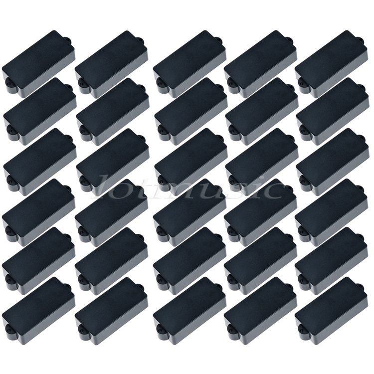 30Pcs Black Bass Pickup Cover Plastic without Hole 5.8cm For Fender Precision PB Bass Replacement belcat bass pickup 5 string humbucker double coil pickup guitar parts accessories black