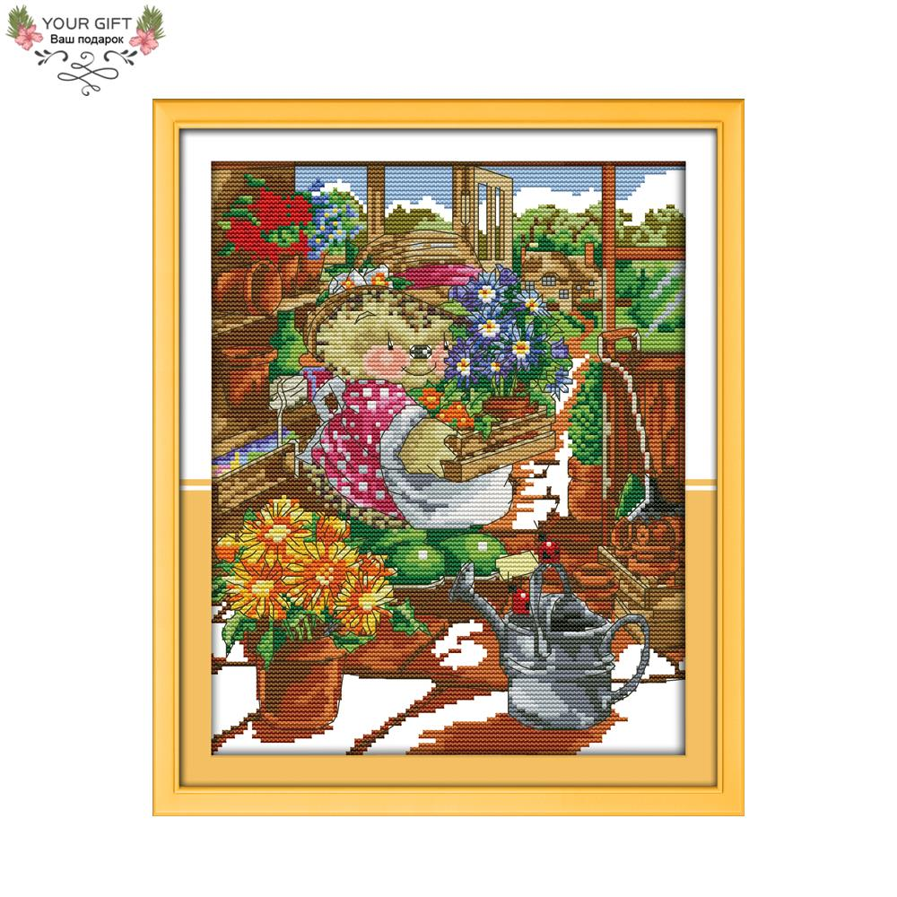 Joy Sunday Counted and Stamped The Little Hedgehogs Flower Shop Needlework Embroidery Cross Stitch kits for Home Decor K622