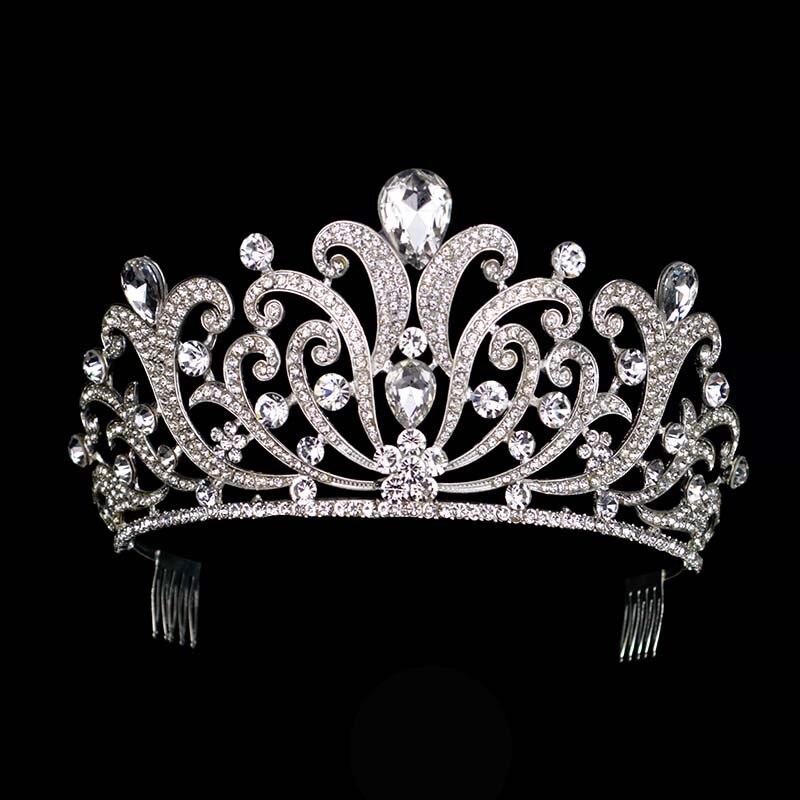 Vintage Silver Crystal tiara Wedding Big Crown For Bride Hair Accessories 2017 New Alloy Rhinestones Queen Crown Hair Jewelry цена 2017