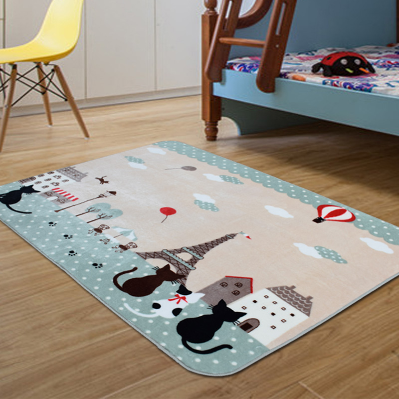 Tapis enfants tapis chambre d'enfants tapis de sol antidérapant dessin animé chat chambre tapis salon tapis rampant 130x185 CM