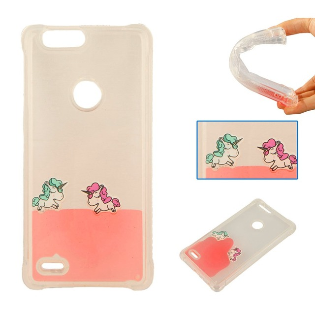 Shockproof Phone case For ZTE Blade Z Max Z982 Liquid Glitter Star Rainbow horse For ZTE Z982 Case Crystal Phone Cover