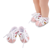 18 inch Girls doll shoes fashion white Sports American newborn canvas shoe Baby toys fit 43 cm baby dolls s156 serendipity s156
