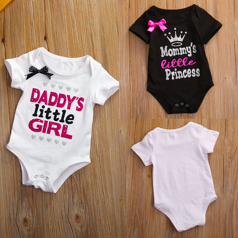 Outfits T-Shirts Jumpsuit Body-Suit Daddy Baby-Girls Newborn Little-Girl Cotton Letter
