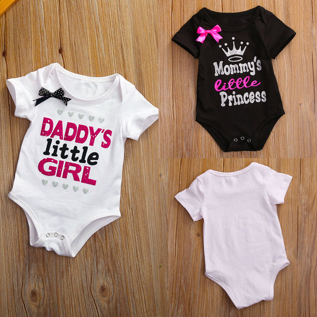 1762710ff 0-18M 2017 Daddy Little girl letter Cotton Newborn Infant Baby Girls Body  suit Romper Jumpsuit Clothes Outfits 0-18M T-Shirts