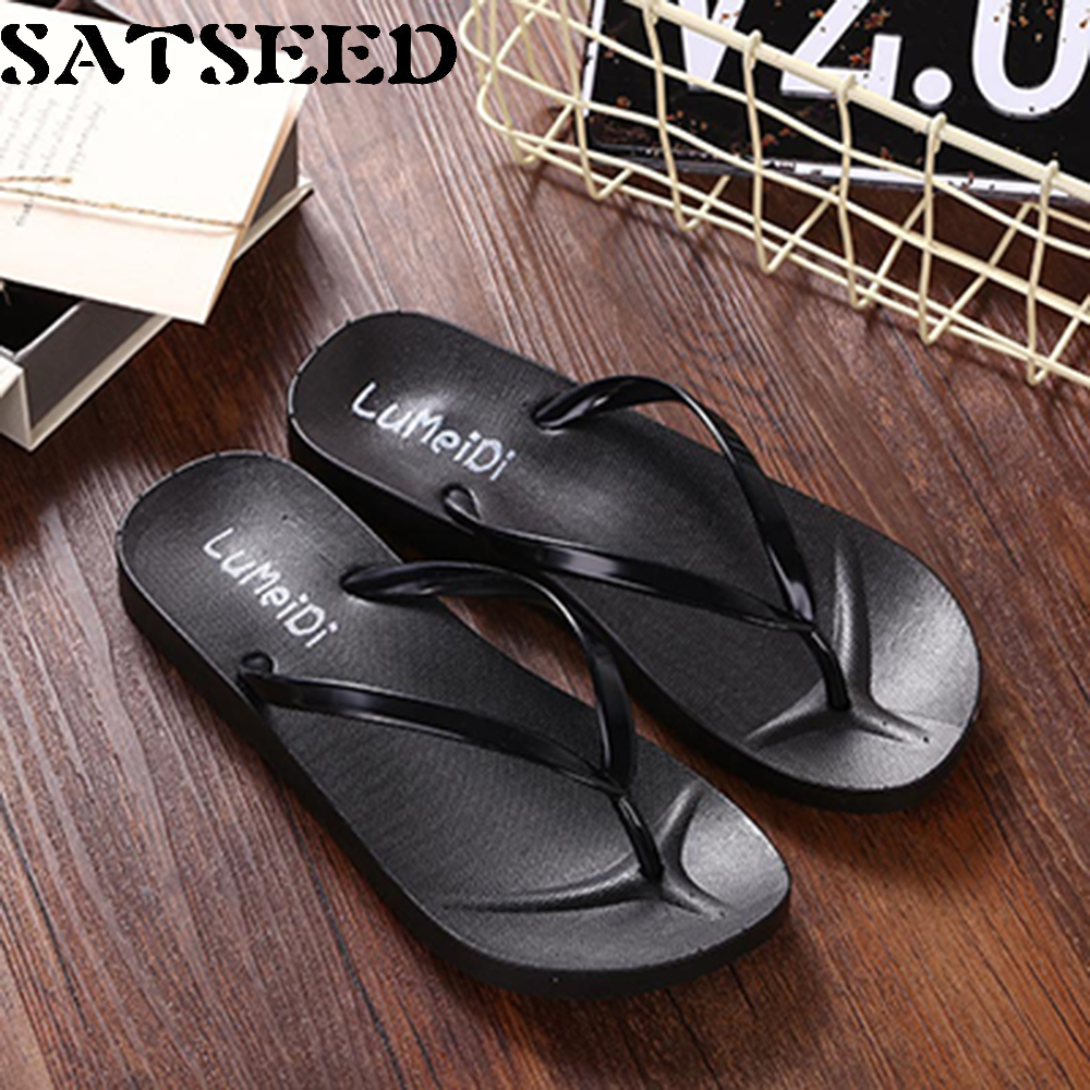 2017 Women Black Beach Slippers Flip Flops Ladies Casual Slippers PVC Outdoors Summer Slides Flat Rome Style Casual Slides Cool