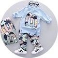 2017 Nova Primavera meninos roupas de bebê meninos conjunto de roupas de moda estilo de alta qualidade completo manga com a letra M impressão A057
