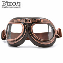 BJMOTO NEW WWII Vintage Harley style motorcycle gafas motocross moto goggles Scooter Goggle Glasses Aviator Pilot Cruiser