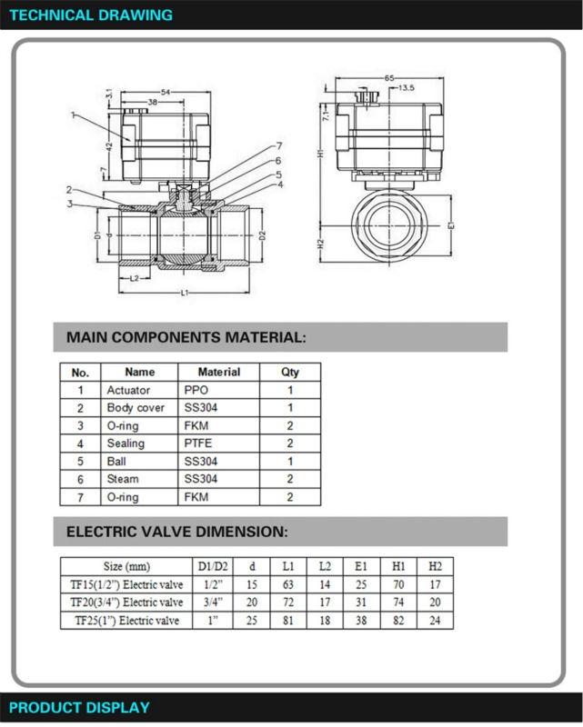ᑎ‰Dc12v/24 V Acero inoxidable 1/2 ''bola motorizada