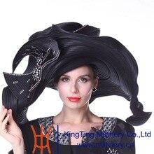 Kueeni Women Hats Church Hats Exaggeration Designer Fashion Lady Wide Brim Hats Elegant Lady Wedding Party