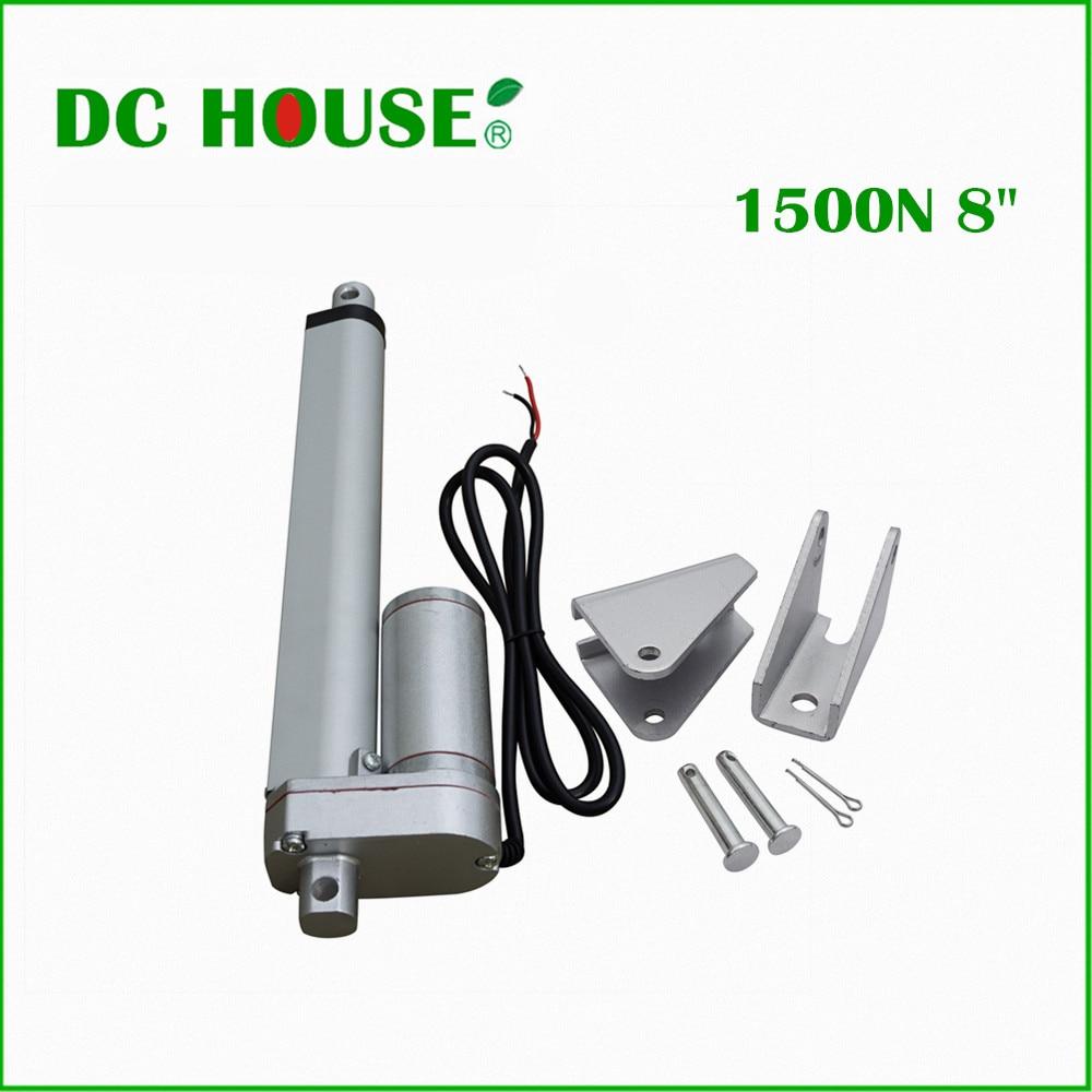 DC дом 2 шт. 200 мм ход 12 В постоянного электрического линейный привод с Стелл монтажные кронштейны солнечной трекер 1500N = 150 кг нагрузки