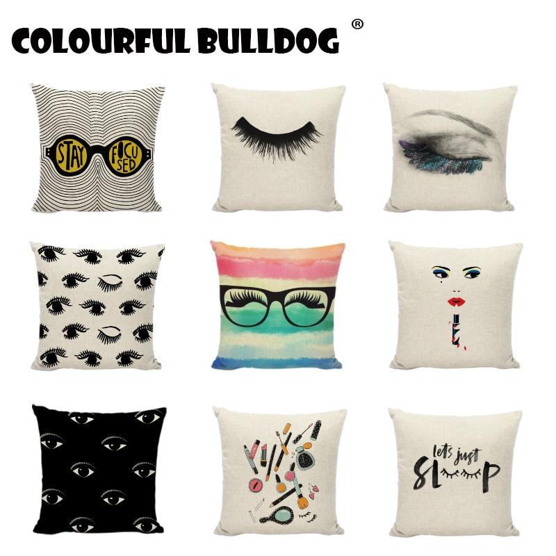 Plain Make Up Perfect Lashes Eyelashes Cushion Cover Charming Woman Red Lips Pillowcase Home Decor Sofa Seat Throw Pillow Covers