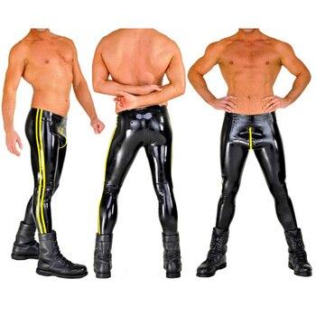 04mm Thickness Nature Latex Tight Trousers High Quatilty Latex Rubber Leggings Long Panties Black Pants with Yellow Trim For Men