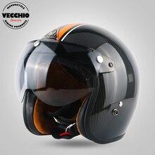 Marca capacete de moto de motocross capacete De fibra de Carbono da motocicleta face Aberta retro jet capacete Casco Capacete capacete vespa do vintage