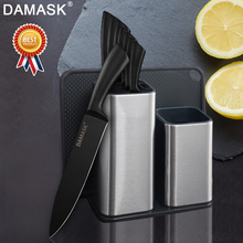 Damask Kitchen Knife Set With Combination Stand Professional Durable Stainless Steel Chef Black Meat Cleaver