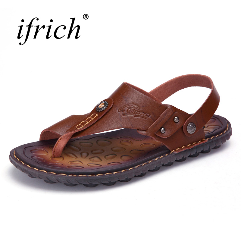 2018 Mens Shoes Casual Anti-slip Sandals Mans Summer Rubber Bottom Sandals for Male Blue Brown Sandals Outdoor Footwear