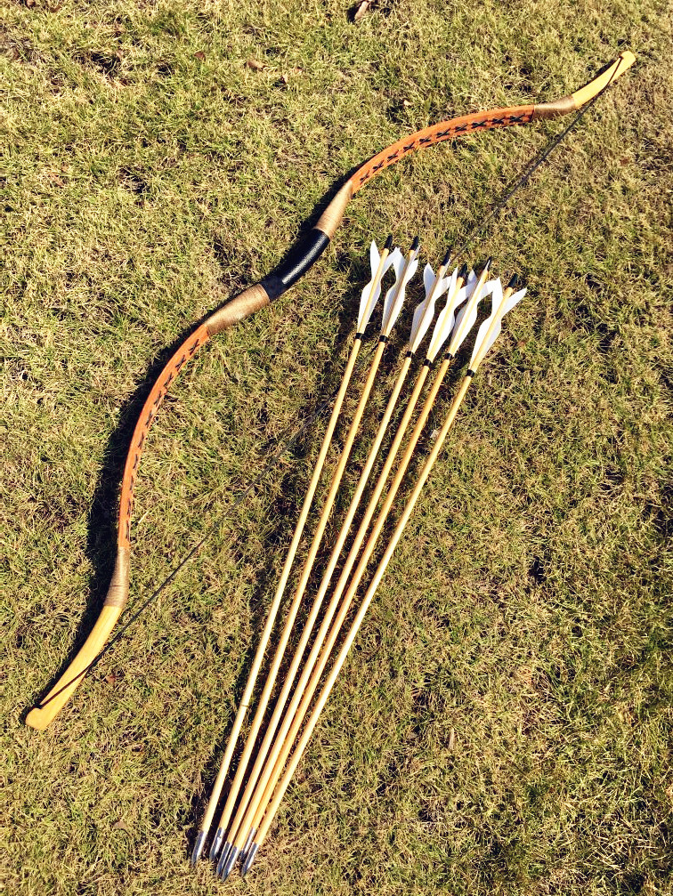Hungarian style 20 60 lbs Archery Handmade Hunting Longbow For Hunting 6 Arrows in Bow Arrow from Sports Entertainment