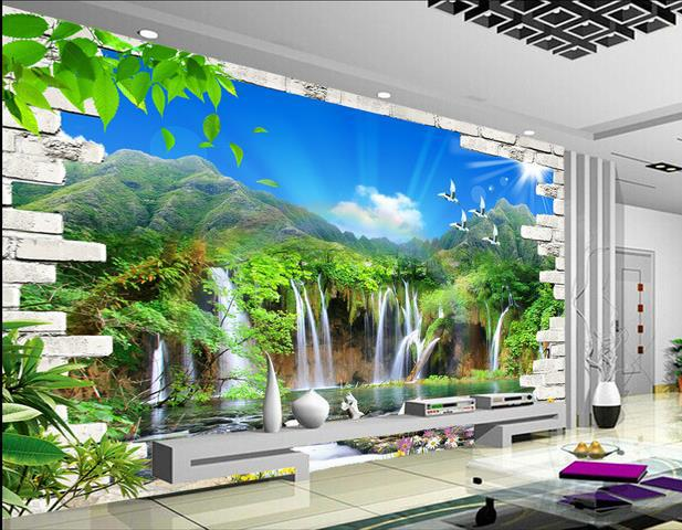 benutzerdefinierte 3d wandbild tapete tv hintergrund landschaft wasserfall 3d fototapete. Black Bedroom Furniture Sets. Home Design Ideas