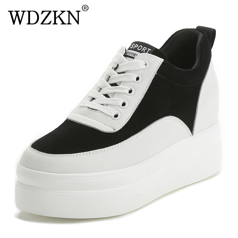 цены WDZKN Spring Autumn Genuine Leather Women Shoes Comfortable Round Toe Cowhide Increasing Flat Platform Shoes Women Sneakers