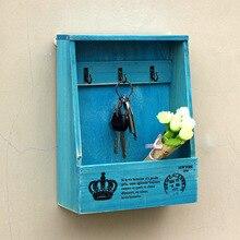 NEUE Kreative Vintage Wohnkultur Schlüssel Hängende Haken Zakka Retro Wand Kleiderbügel Holz Organizer Schlüssel Diversesspeicher Holz Box