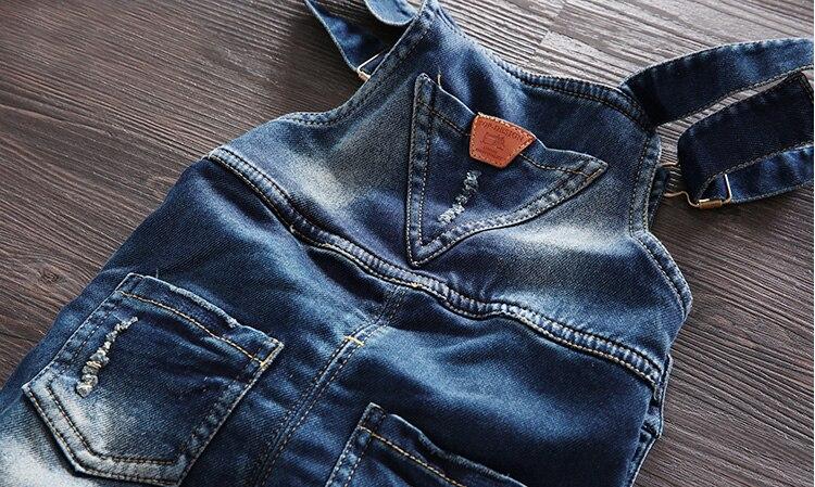 Gratis frakt 2018 vårhöst Baby pojke overaller bib barn denim byxor - Barnkläder - Foto 6