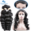Sapphire Brazilian Human Hair 4 Bundles With 360 Lace Closure Natural Color Loose Wave Bundles With
