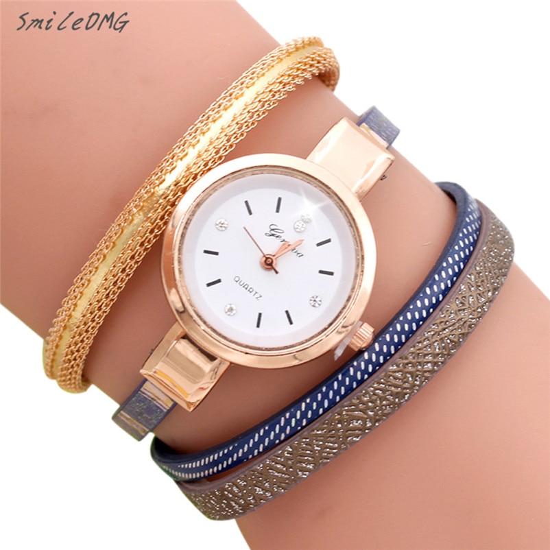 ebba2671a93 Venda quente Mulheres Relógio de Ponto Onda Da Moda Analógico Relógio De  Quartzo Das Mulheres Relógio Pulseira de Couro Pulseira de Alta Qualidade  Frete ...