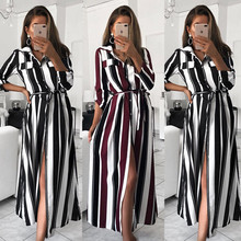 Stripe Maxi Dress 2019 Office Lady Turn-Down Collar Button Long Shirt Dress Women Autumn Summer Long Sleeve Dress plus size women striped long shirt dress turn down collar button dress autumn spring long sleeve stripe maxi dresses loose vestidos