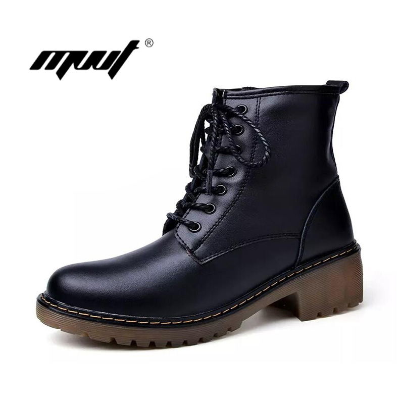 Fashion genuine leather women boots warm plush snow boots high top Increase women winter boots winter ankle shoes