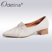 Odetina New Fashion Ruffles Mules For Women Pumps Elegant Pointed Toe Lady Square Heels Slip on Spring Summer Shoes Plus Size 43