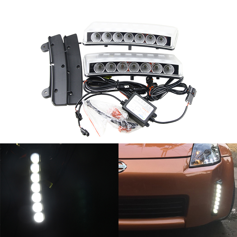 Brand New Led Daytime Running Lights Fog Lamp Kit For Nissan 350Z Pre-LCI 03-05 Xenon White Car Led Daylights Auto Driving Lamp panlelo new 9005 auto car led lights lamps 6500k kit fog lamp play