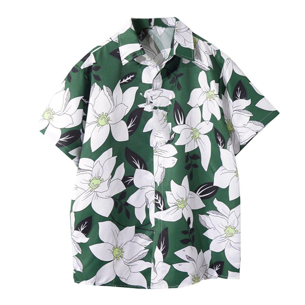 Summer Men's Shirts Blouse Casual Hawaii Printing Beach Shirts Short-sleeve Hawaiian Men Dress Shirts Tops Camisas Hombre