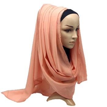 Heavy Chiffon Scarf Eyelash Women Wrap Shawls Plain Long Headband Hijabs 180