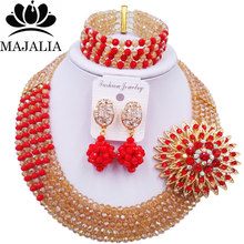 Majalia Luxury African Jewelry Set Gold ab and Red Crystal Bead Bride Jewelry Nigerian Wedding African Jewelry Sets 5AS009(China)