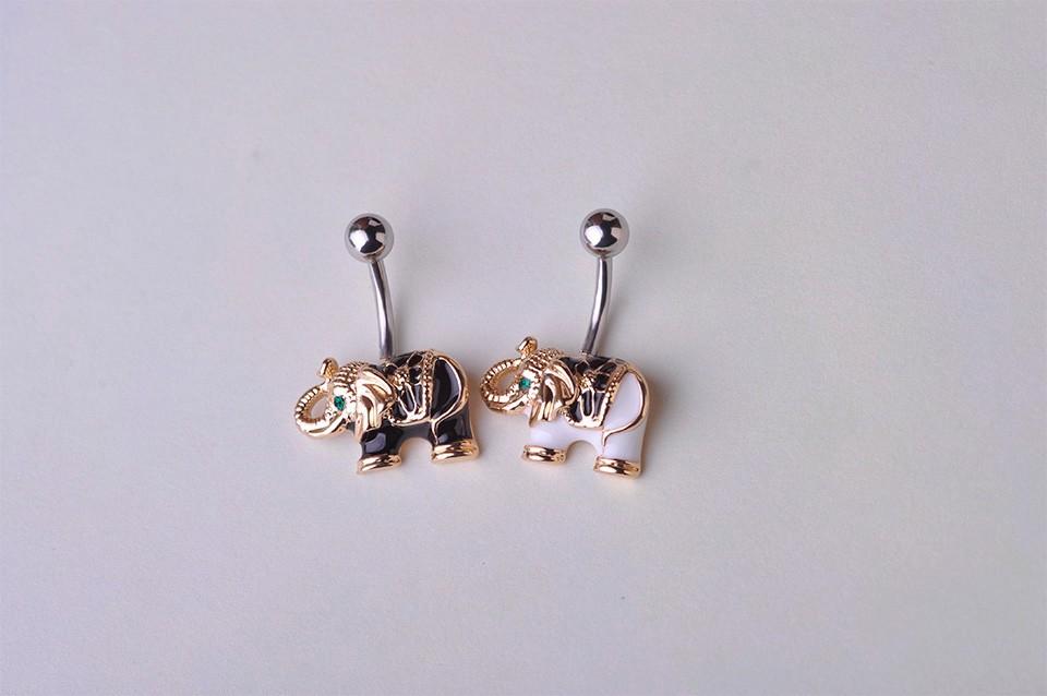 HTB1KIl7HVXXXXbdXFXXq6xXFXXXz Cute Gold Body Piercing Jewelry Elephant Navel Ring - 2 Colors