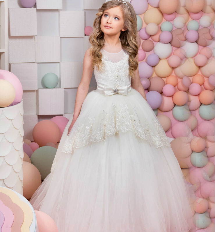 Flower Girl Dresses for Wedding Ball Gown First Communion Dresses for Girls Long Graduation Dresses Lace Mother Daughter Dresses 1 12t pink lace long trailing wedding dress flower girl dresses appliques first communion dresses for girls pageant dresses
