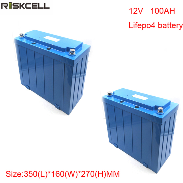 No taxes 2pcs/lot  Deep cycle LiFePO4 12V 100Ah lithium-ion battery pack for Solar Street Light