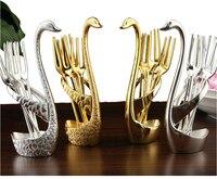 7 סט חטיף יח'\סט קינוח פירות ברבור נחמדה מבריק בולט כסף זהב קישוט שולחן כלי אוכל כלי שולחן מסיבת אירוע CC001
