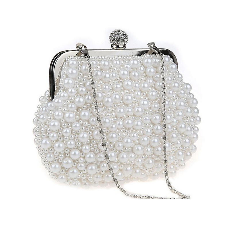 Pearls Clutch Bag White Evening Bags Wedding Bride Purse Chains Women Handbag Beaded Party Dress Day In Clutches From Luggage On