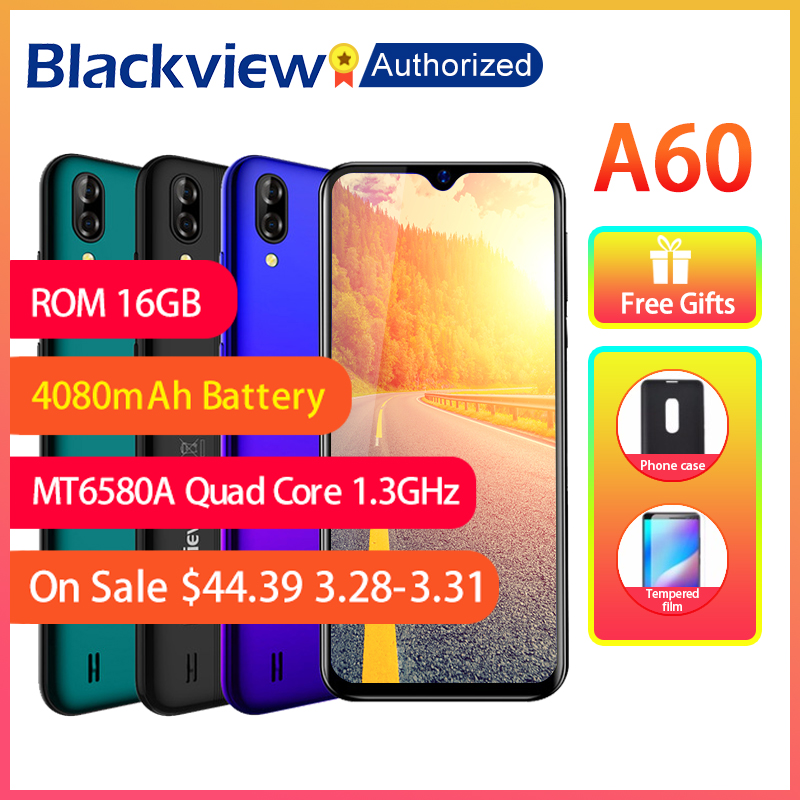 """Blackview A60 Phone 1GB RAM 16GB ROM Smartphone 6.088"""" 19.2:9 Display Full Screen MT6580A Quad Core 8MP Android 8.1 Mobile Phone"""