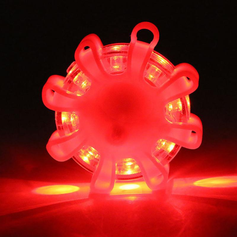 8LED Road Safety Flare Flashing Warning Light Roadside Flares Emergency Disc Beacon With Magnetic Base For Car Marine Boat