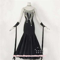 Black ballroom dance competition dresses standard ballroom dress standard dance dresses luminous costumes ballroom waltz dress