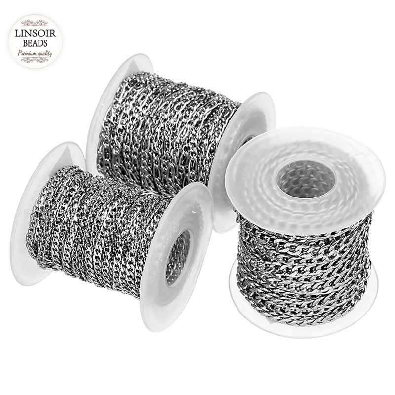 10Yards/Roll 3mm 4mm 5mm Width Silver Tone Stainless Steel Bulk Chain Mens Figaro Chain  ...