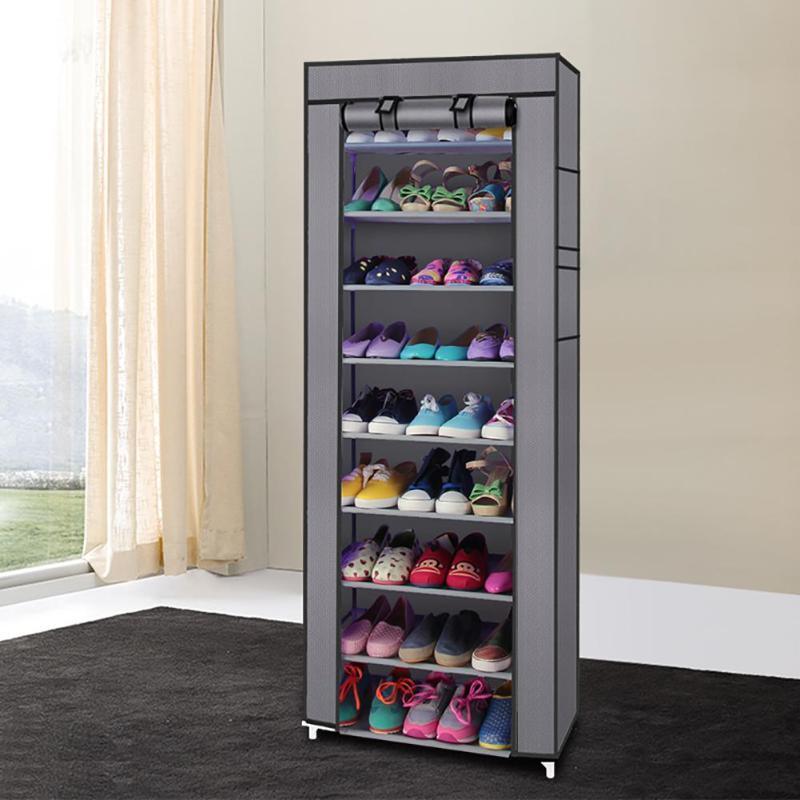Fashion 9 Layers Fabric Non-woven Shoe Rack Home Organizer Storage Supplies E5M1