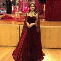 1ecc480b55 ... spódnica dubaj wieczorowa długi korowód sukienka. Newest Burgundy Ball  Gown Evening Dresses With Cape Sweetheart Velvet Skirt Dubai Prom Gown Long  ...
