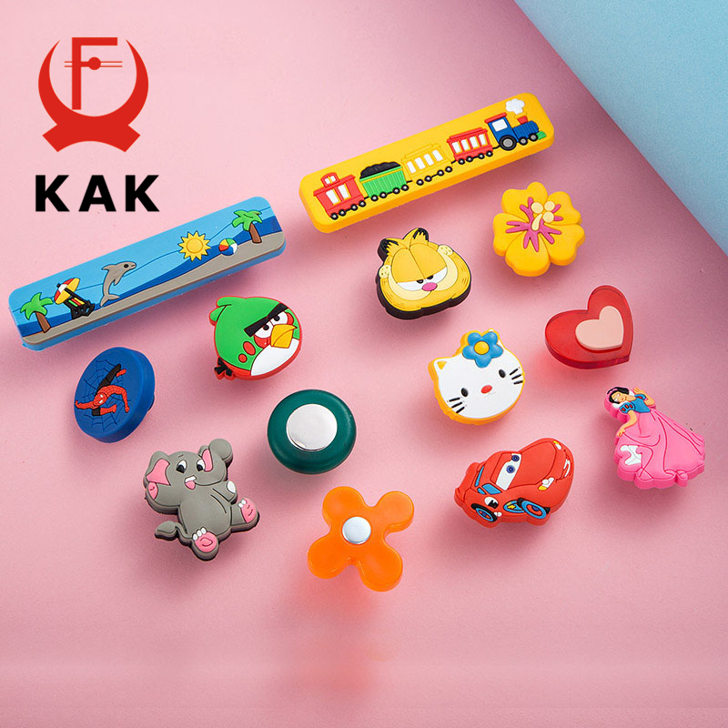 KAK 10PCS/lot Soft Rubber Children Room Furniture Handles Cartoon Cabinet Cupboard Handles Novelty Fashion Safety Pulls Knobs